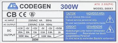 Codegen model: 300X1 (rev. CG 07A) awaria na stronie pierwotnej zasilacza.