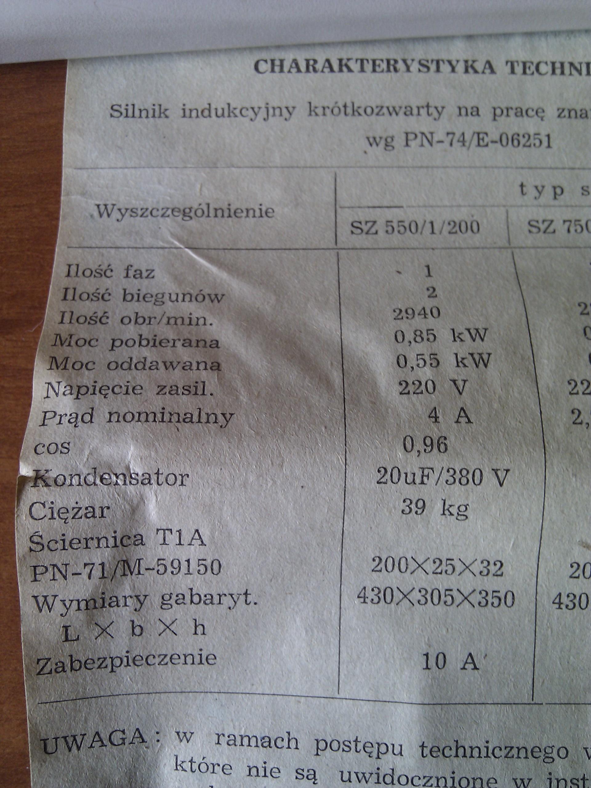 Szlifierka sto�owa Sz-550/200.K�opoty z pod��czeniem wtyczki.