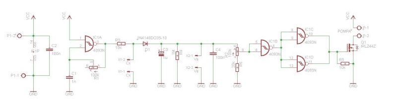 Sterownik podlewania z sondą pojemnościową na CD4093.