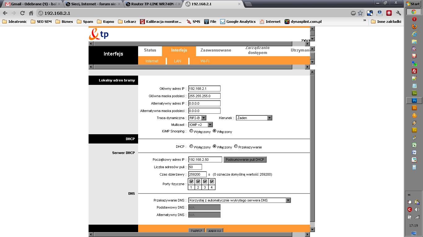 Neostrada modem zte ZXV10 W300 + switch tp-link tl-sf1008d - Brak internetu
