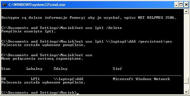 Mapowanie drukarki LPT1 + windows Xp