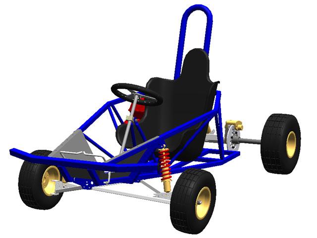 Pojazd na pograniczu buggy i go-kard z silnikiem WSK 125.
