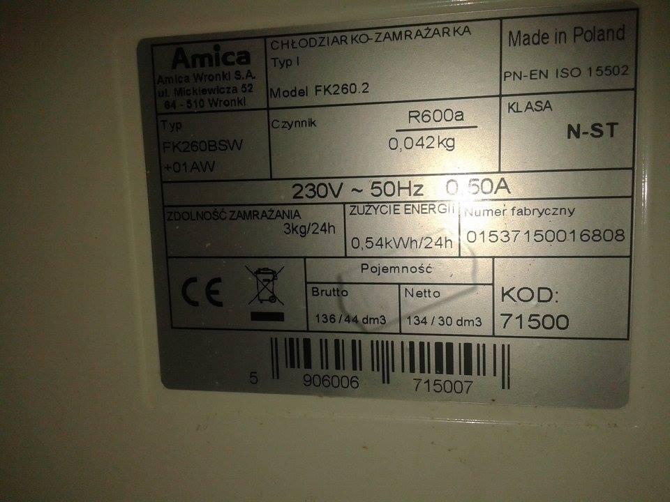 AMICA FK260.2, Lod�wka po rozmro�eniu nie ch�odzi