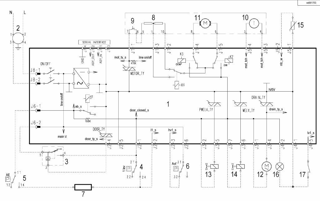 Pralka Electrolux EWF 1060  - Zmiana zamka drzwi. Triak tyacs1 wystrzeli�