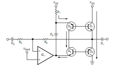 Stopień mocy w klasie B z automatyczną polaryzacją