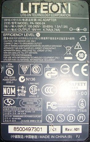 LiteOn model: PA-1900-24 19V/4,74A kabel zasilaj�cy przerywa.