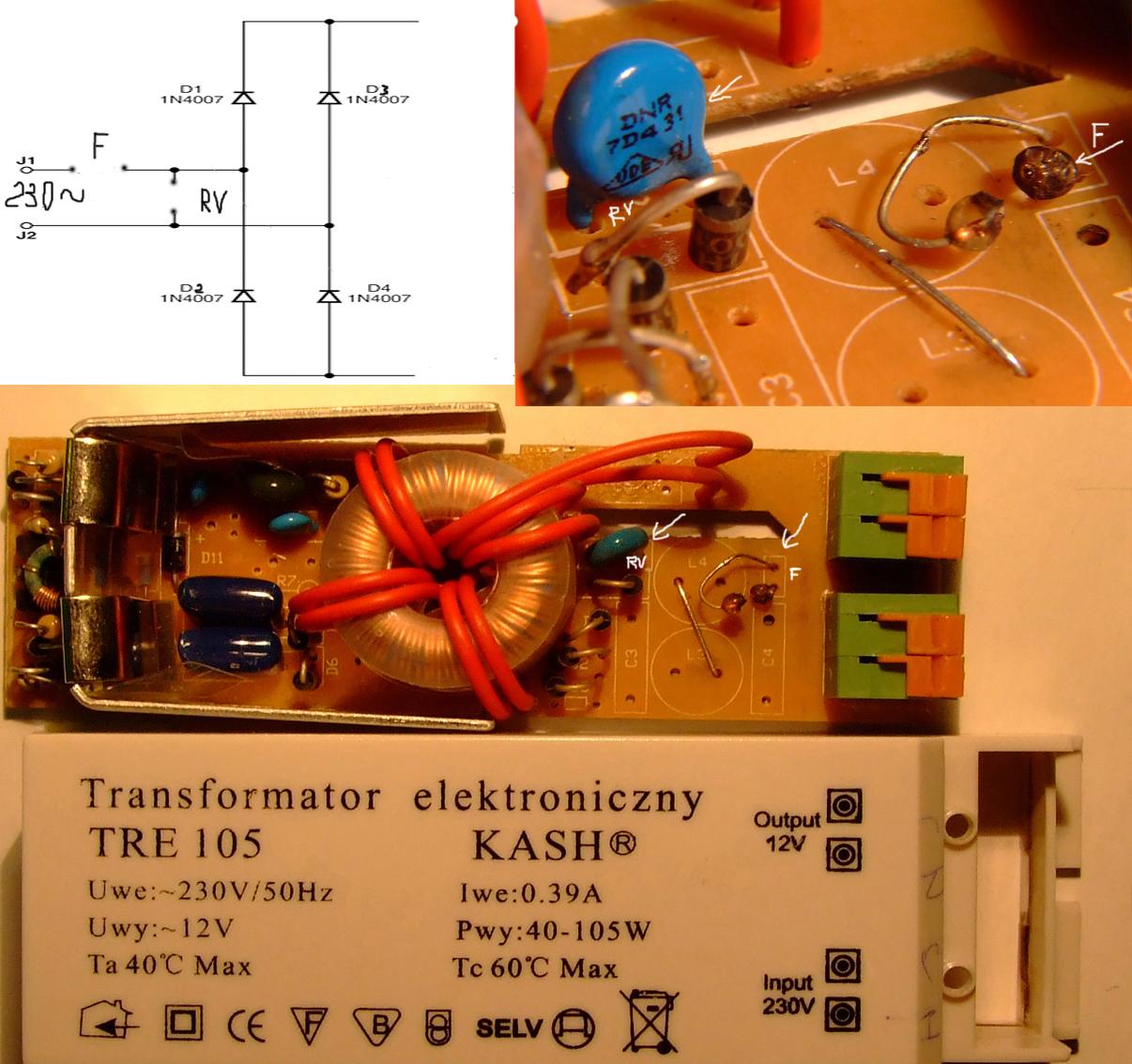 Transformator elektroniczny TRE 105 KASH 40-105 W - naprawa
