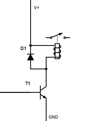 Tranzystor sterujący przekaźnikiem i dioda zabezpieczająca 1N4007 lub 1N4148