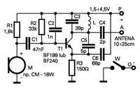 Nadajnik FM kondensator 5,6 pf zamiast 5 pf i wtyczka jack zamiast mikrofonu