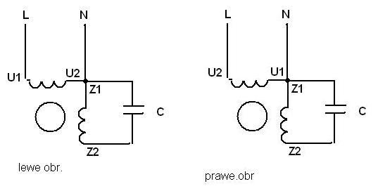 Zmiana kierunku obrot�w w silniku jednofazowym + schemat