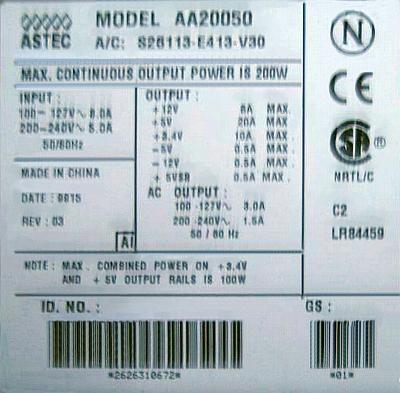 ASTEC model: AA20050