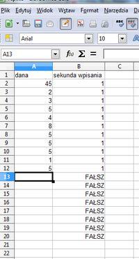 [Excel, Calc]Automatyczne zamienianie formu�y na jej wynik - czas wpisania danej