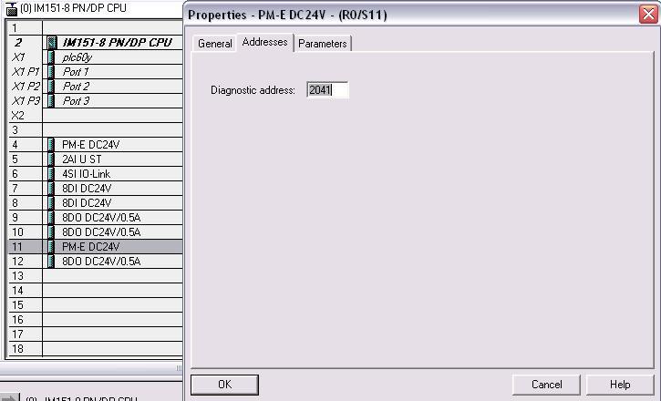 s7 et200s modu� PM-E, diagnostyka braku napi�cia