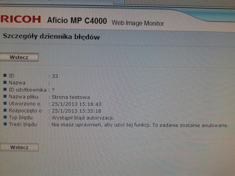 Ricoh Aficio MPC4000 - brak autoryzacji