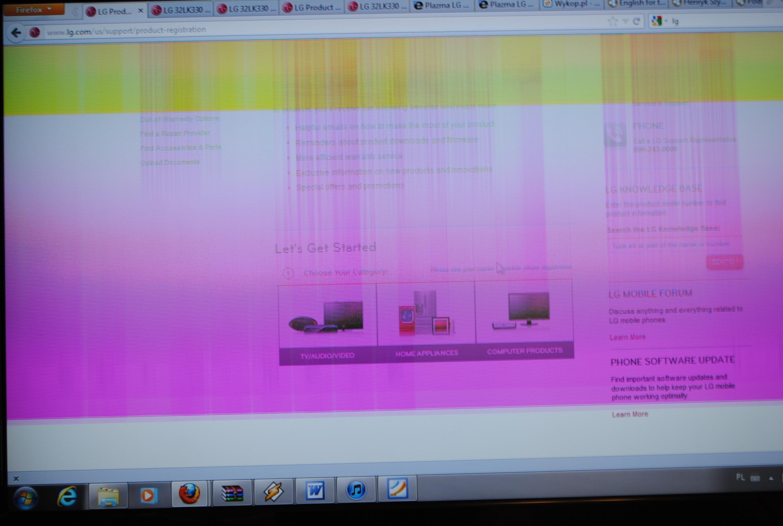 Lg 32lk330 Rozowe  paski na Ekranie