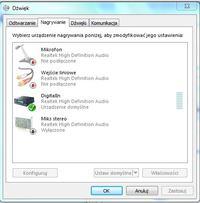 Realtek HD Audio - głośniki mikrofon słuchawki - Nie podłączono