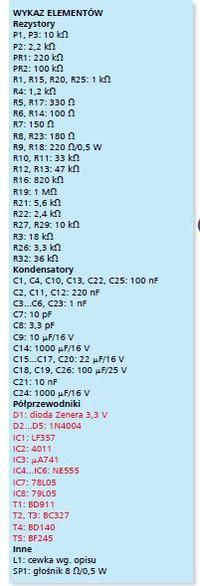 AVT 5196 b��dy w spisie element�w i schemacie