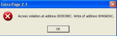 Acces violation at address (   )