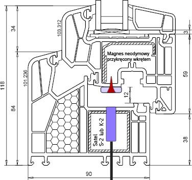 Kontaktron Satel S-2 lub K-2 w oknie PCV.