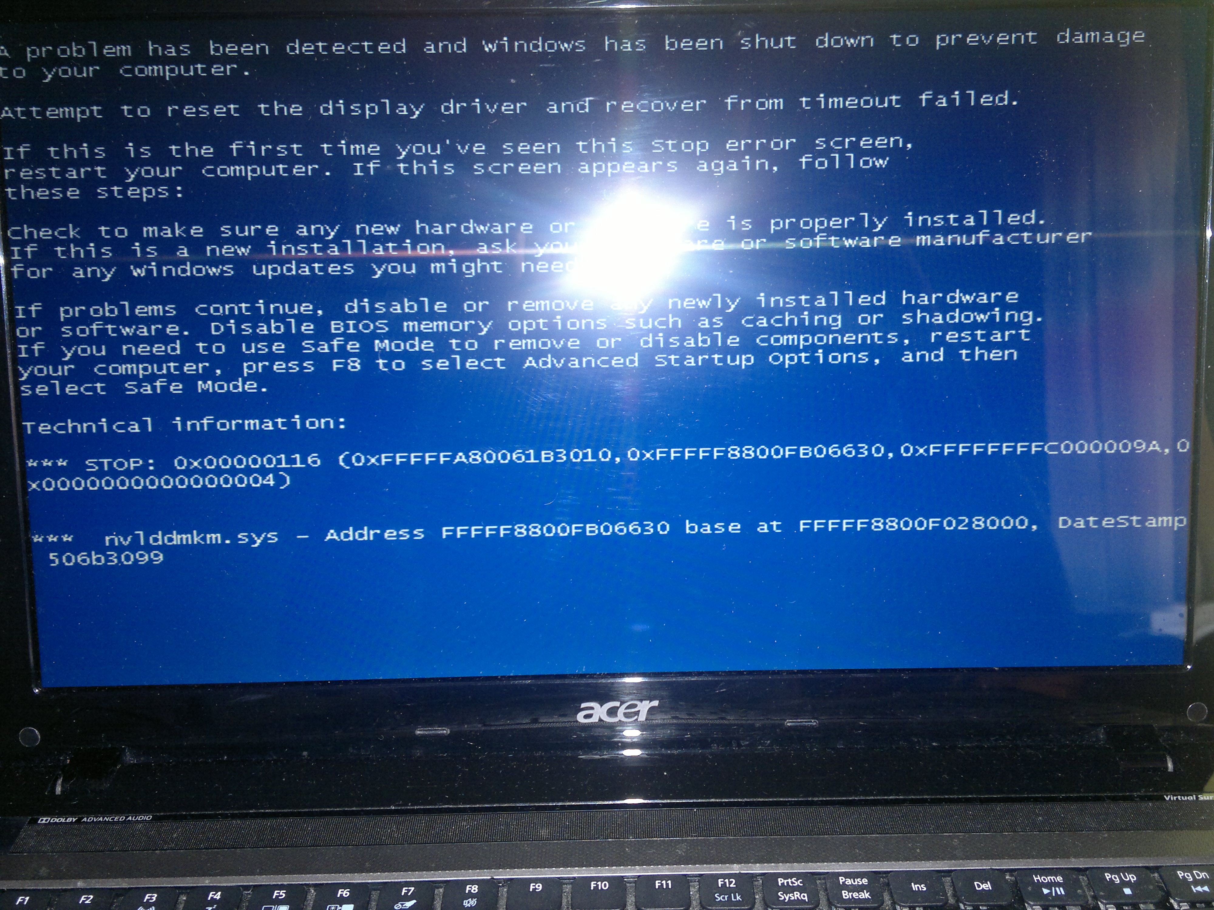 Acer Aspire 5750G - Blue screen 0x00000116 / nvlddmkm.sys