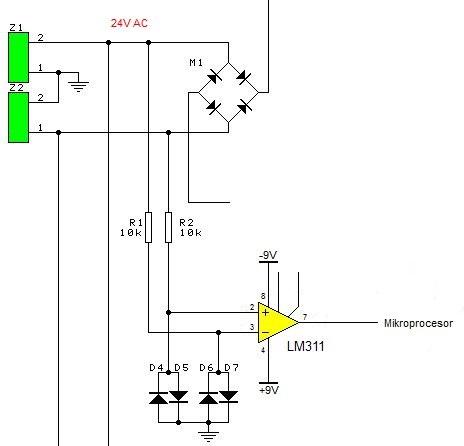 Detektor przejścia napięcia zasilającego przez zero LM311