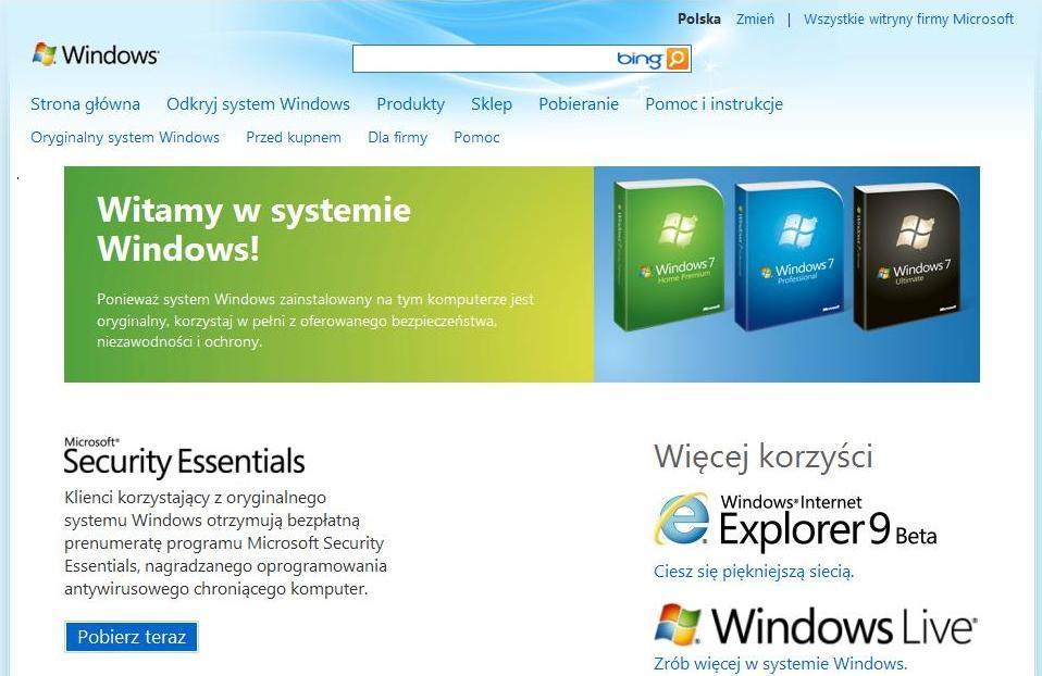 Windows oryginalny czy nie.
