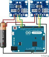 Podłączenie pinów SDA, SCL z czujnika INA219 do Leonardo.