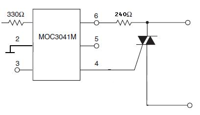 Sterowanie triaka BT138 optotriakiem MOC3041