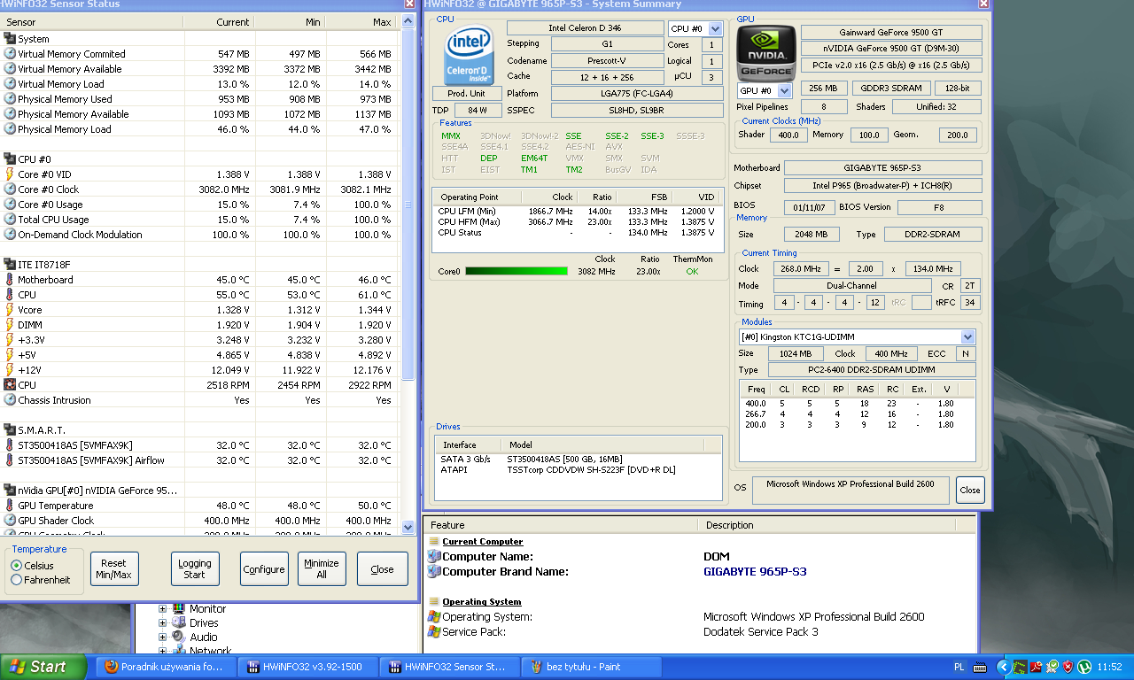 Karta graficzna Geforce 9500 gt.