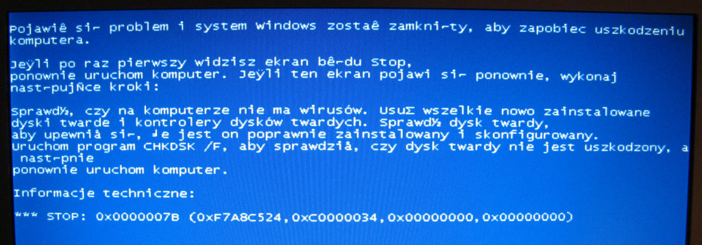 Netbook HP Mini 110-3100sw - BSOD STOP: 0x7B przy instalacji Windows XP.