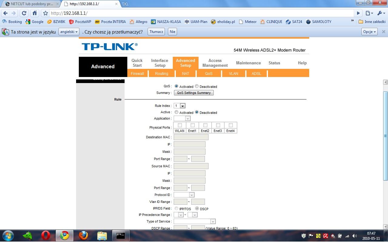 QoS konfiguracja router TP-LINK