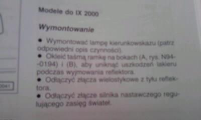 VW Passat B5 - Regulacja świateł, schemat